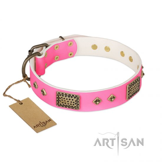 """Frenzy Candy"" FDT Artisan Decorated Pink Leather Pitbull Collar - Click Image to Close"