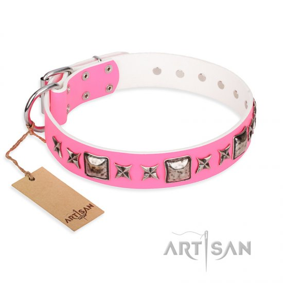 """Lady in Pink"" FDT Artisan Extravagant Leather Pitbull Collar with Studs"