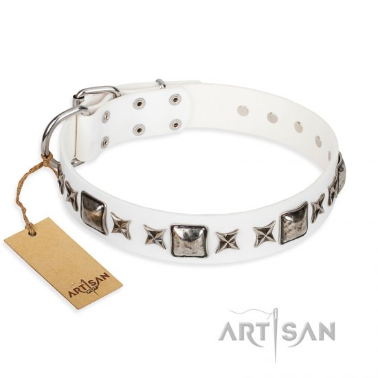 """Intergalactic Travelling"" FDT Artisan Handcrafted White Leather Pitbull Collar"
