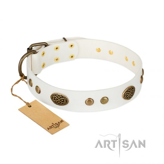 """The Snow Queen"" FDT Artisan White Leather Pitbull Collar with Decorations"