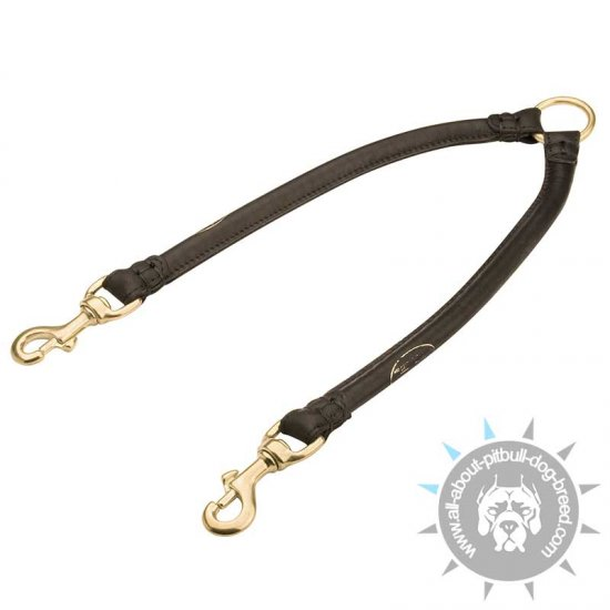 Round Leather Pitbull Coupler Leash for Walking 2 Dogs
