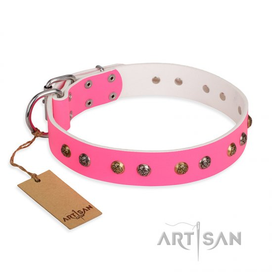 """Sheer love"" Pink Leather FDT Artisan Pitbull Collar with Old-look Hemisphere Studs"