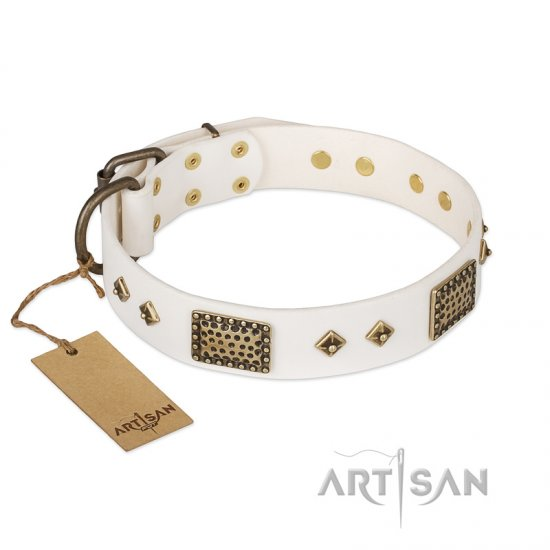 """Snow-covered Gold"" FDT Artisan White Leather Pitbull Collar"
