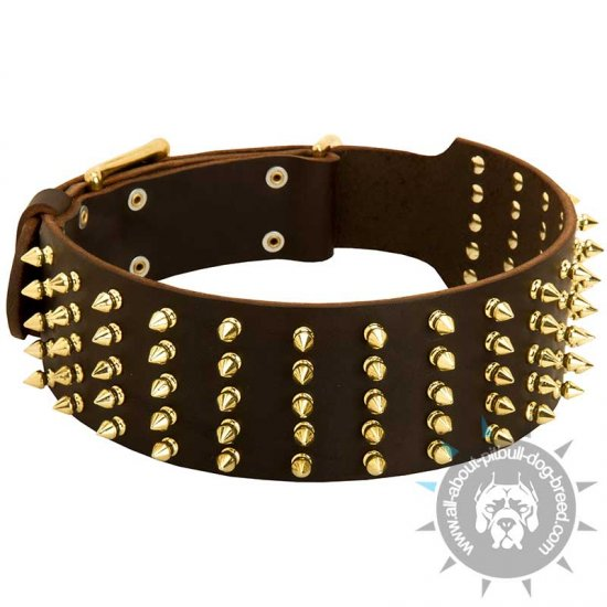 Spiked Leather Dog Collar-High Quality Leather Dog Collar 70 mm wide