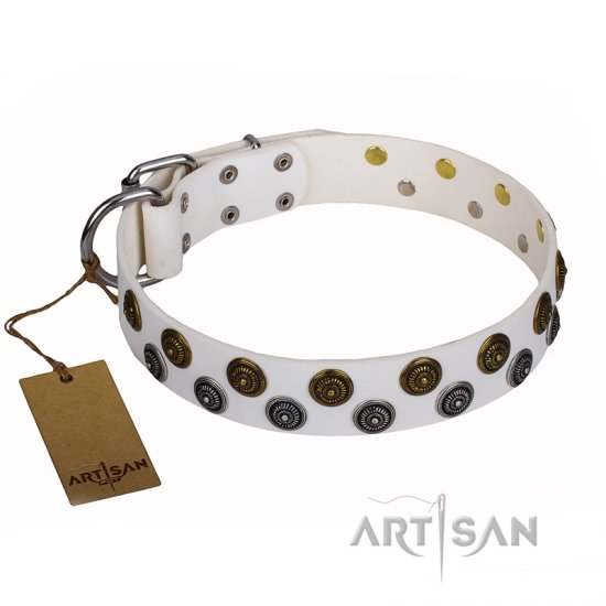 """Snowflake"" FDT Artisan White Leather Pitbull Collar with Circles"