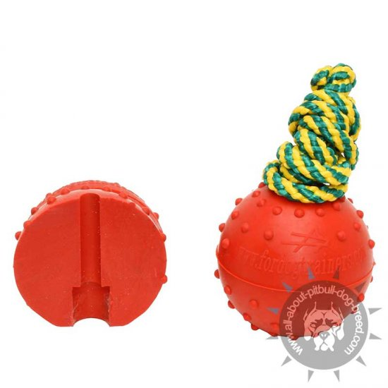 Dotted Rubber Water Ball on Nylon Rope - Medium 2 1/3 inch (6 cm)