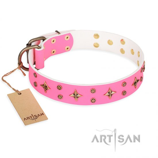 'Chi-Chi Pink Rose' FDT Artisan Leather Pitbull Collar with Decorations