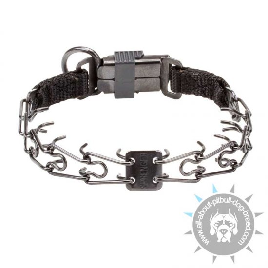 Black Stainless Steel Pinch Collar with Click Lock Buckle - 1/11 inch (2.25 mm) prong diameter