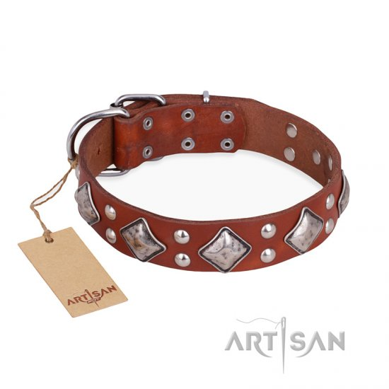 """Magic Squares"" FDT Artisan Tan Leather Pitbull Collar with Silver-like Decor"