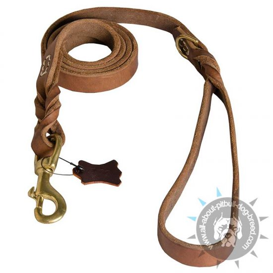 Braided Leather Lead Improved Design for Pit Bull Terrier