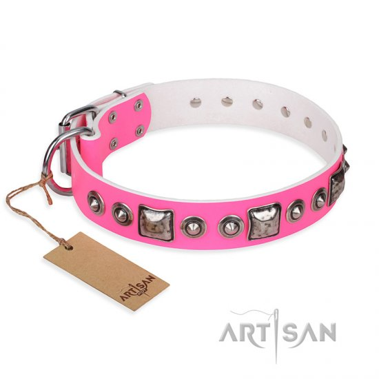 """Pink Dream"" FDT Artisan Leather Pitbull Collar with Silvery Decorations"