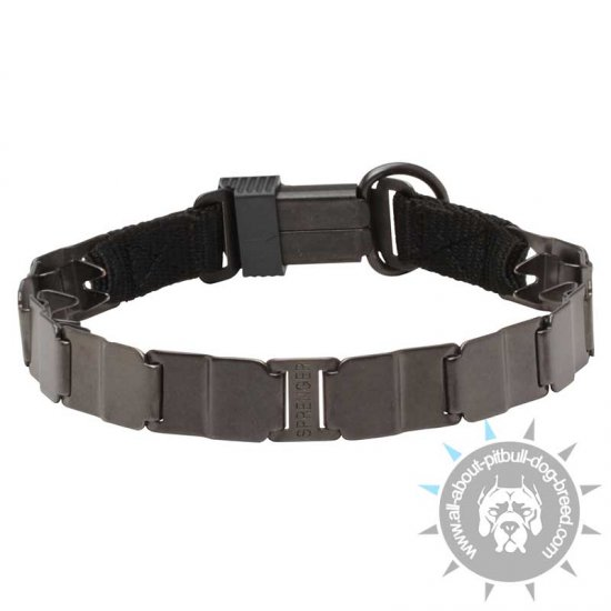 'Gentle Kind' Neck Tech Sport Pinch Collar of Matt Black Steel - 1 2/5 inch (3.3 cm) prong