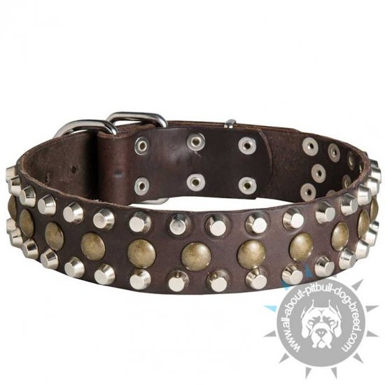 Custom 3 Rows Leather Dog Collar with Pyramids and Studs
