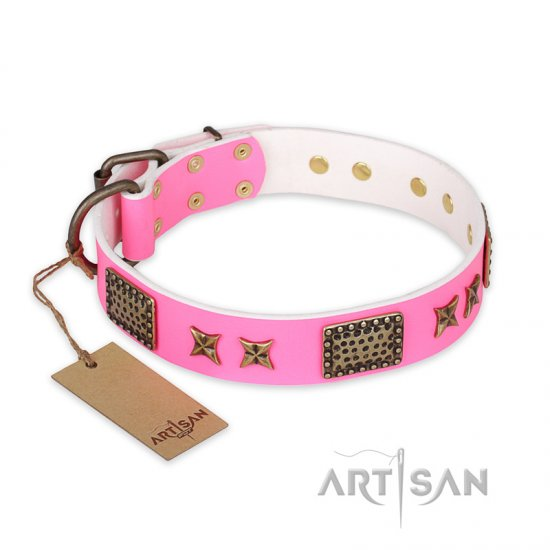 """Tender Pink"" FDT Artisan Leather Pitbull Collar with Old Bronze Look Stars and Plates"
