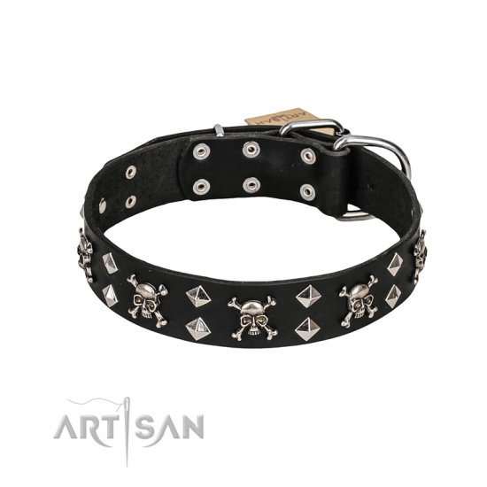 FDT Artisan 'Rock 'n' Roll Style' Leather Pitbull Collar with Skulls, Bones and Studs 1 1/2 inch (40 mm) wide
