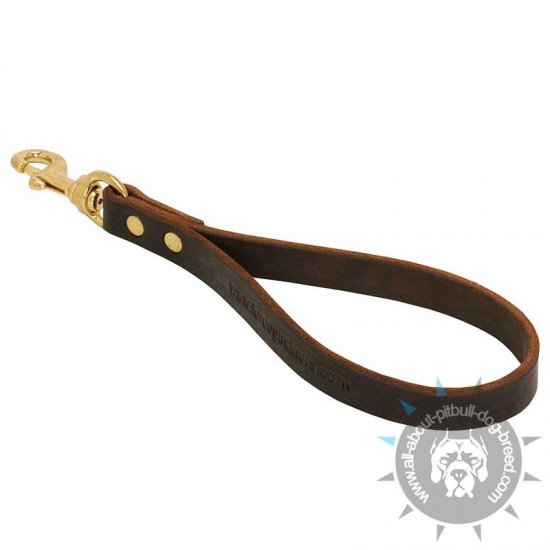 Short Leather Dog Training Traffic Lead w/without Support Material on the Handle