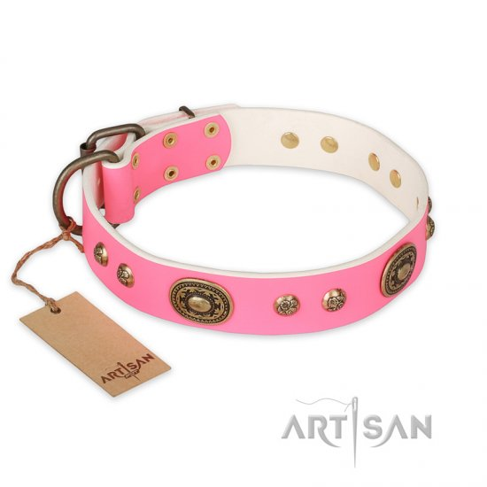 """Sensational Beauty"" FDT Artisan Pink Leather Pitbull Collar with Old Bronze Look Plates and Studs"