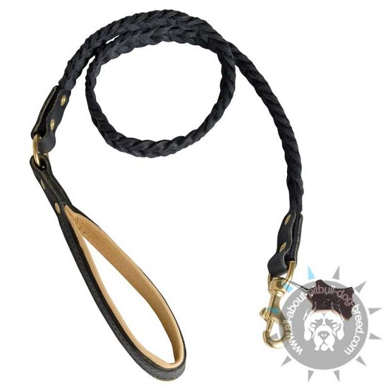Exclusive Design Braided Leather Leash for Pitbull