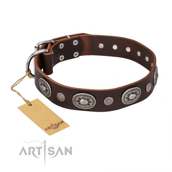 """Extra Pizzazz"" FDT Artisan Adorned Brown Leather Pitbull Collar"