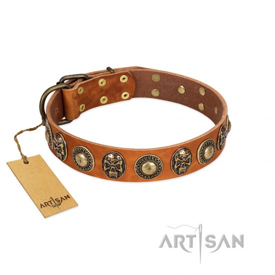 """Golden Epoch"" FDT Artisan Tan Leather Pitbull Collar with Old Bronze-plated Medallions and Conchos"