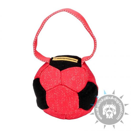 'Soccer Fan' Bright French Linen Pitbull Bite Tug with Handle