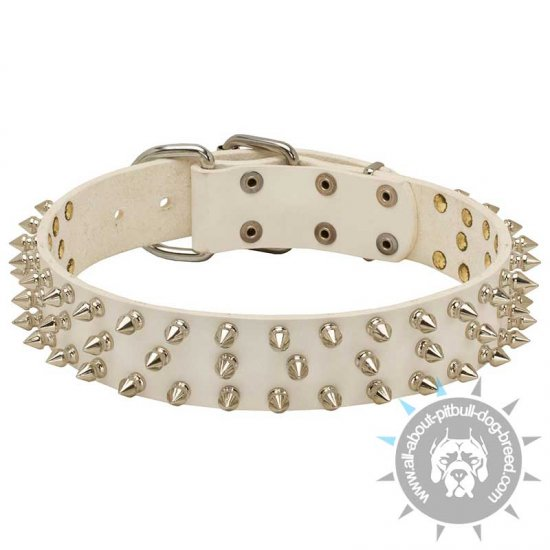 New Fashionable White Leather Dog Collar with 3 Rows of Spikes