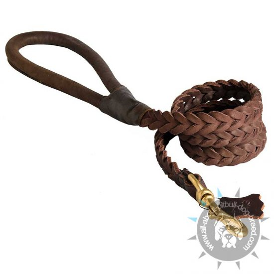 Braided Leather Dog Leash with Round Handle for Pitbull