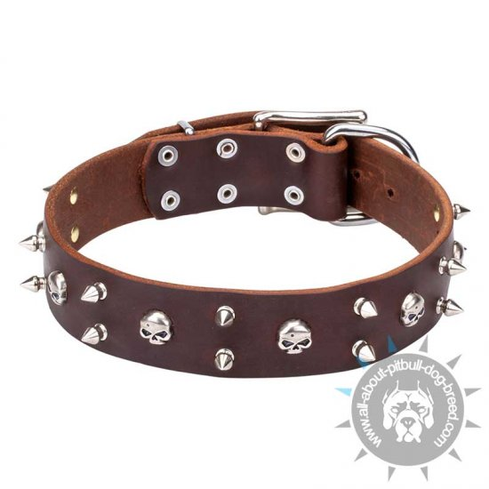 """Blackbeard"" Leather Collar Decorated with Skulls and Spikes"