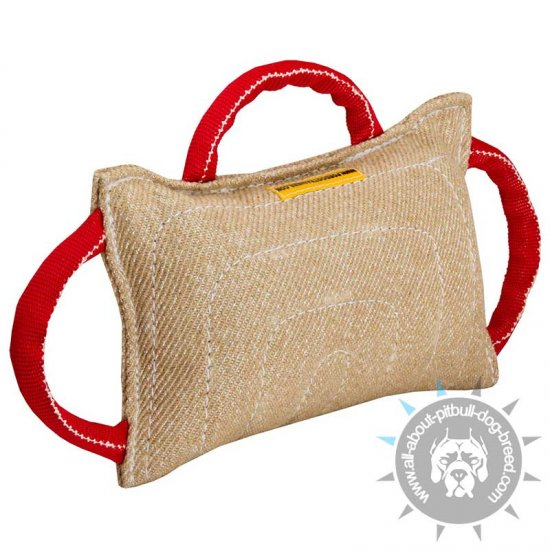 Dog Bite Pad Made of Jute with 3 Handles for American Pitbull Terrier