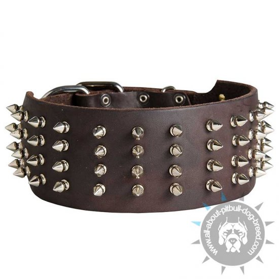 3 inch Wide Leather Spiked Collar for Pitbull - Click Image to Close