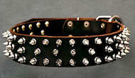 APBT Leather Spiked Dog Collar - 3 Rows of spikes