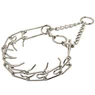 """Like a Mama's Pinch"" Pitbull Prong Collar Chrome Plated - 1/10 inch (2.3 mm)"