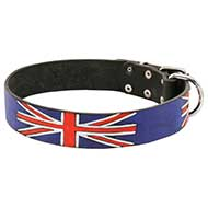 'Union Jack' Leather Pitbull Collar with Handmade Painting