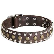 3 Rows Leather Dog Collar & Pyramids and Studs-Studded dog collar