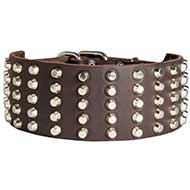 3 inch Studded Leather Dog Collar for Pitbull