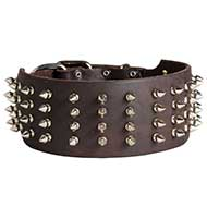 3 inch Wide Leather Spiked Collar for Pitbull