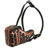 "Pitbull muzzle-Hand painted leather Muzzle ""Dondi"" Plus"