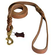 Latigo Braided oily Leather Waist Lead 4 FOOT-Pitbull
