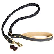 Braided Handcrafted Leather Dog Leash with Padded Handle