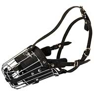 'No Mash' Best Wire Dog Muzzle with Soft Leather Lining for Handsome Pitbull
