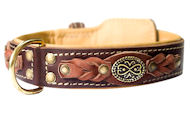 Handcrafted Leather dog collars for Pitbull handmade