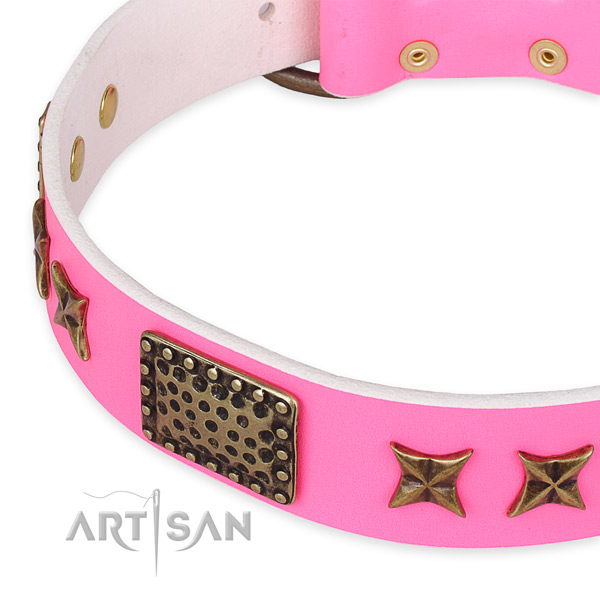 Full grain genuine leather collar with strong buckle for your stylish doggie