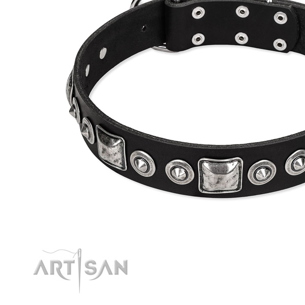 Full grain genuine leather dog collar made of quality material with adornments