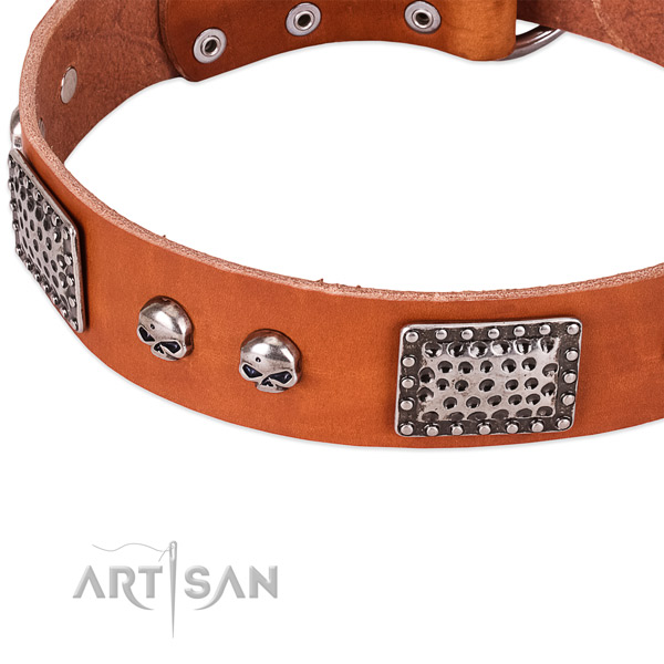 Rust-proof hardware on genuine leather dog collar for your pet