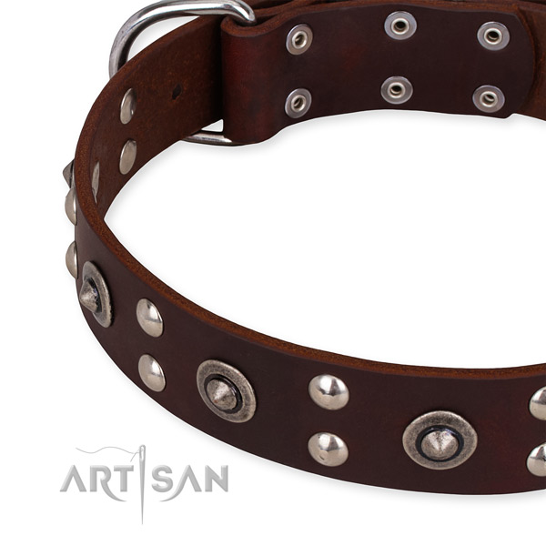 Genuine leather collar with rust resistant buckle for your lovely doggie