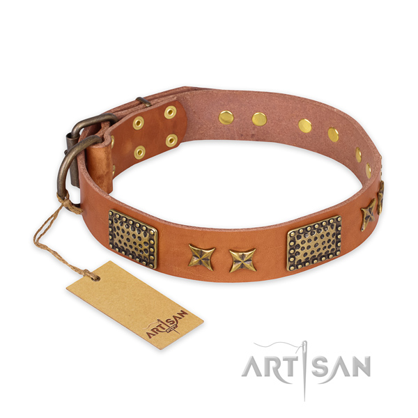 Handcrafted natural genuine leather dog collar with rust-proof fittings