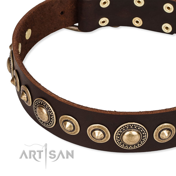 Flexible full grain natural leather dog collar made for your beautiful dog