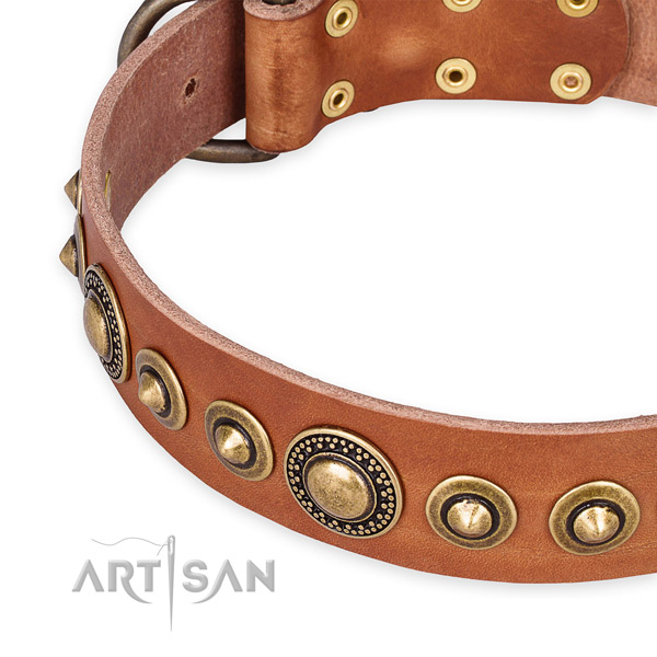Flexible natural genuine leather dog collar crafted for your attractive pet