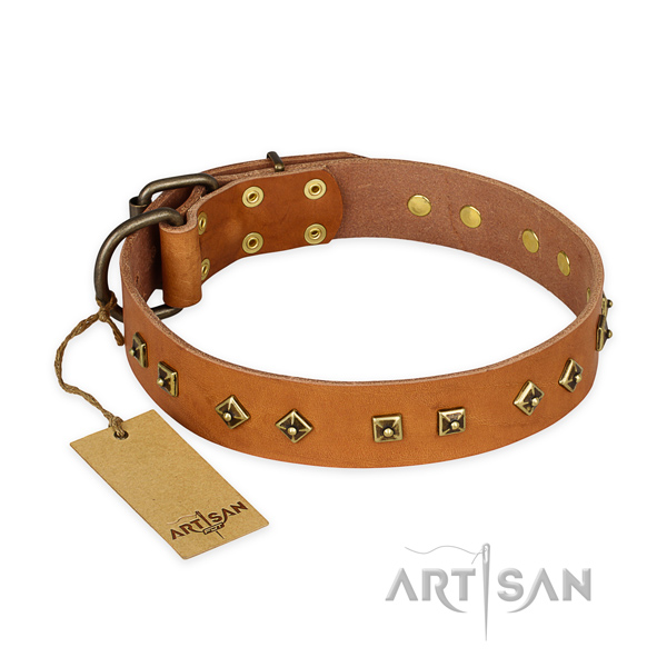 Easy wearing full grain genuine leather dog collar with corrosion proof D-ring