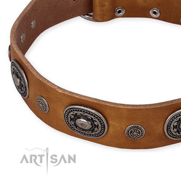 Quality full grain natural leather dog collar made for your beautiful doggie
